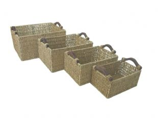 Deep Big Rectangle A4 Paper Magazine Seagrass Storage Basket + Wooden Handles